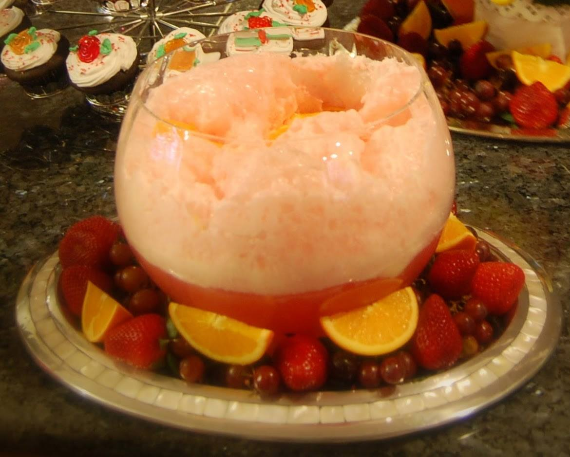 Ice Cream Punch with Fresh Fruits