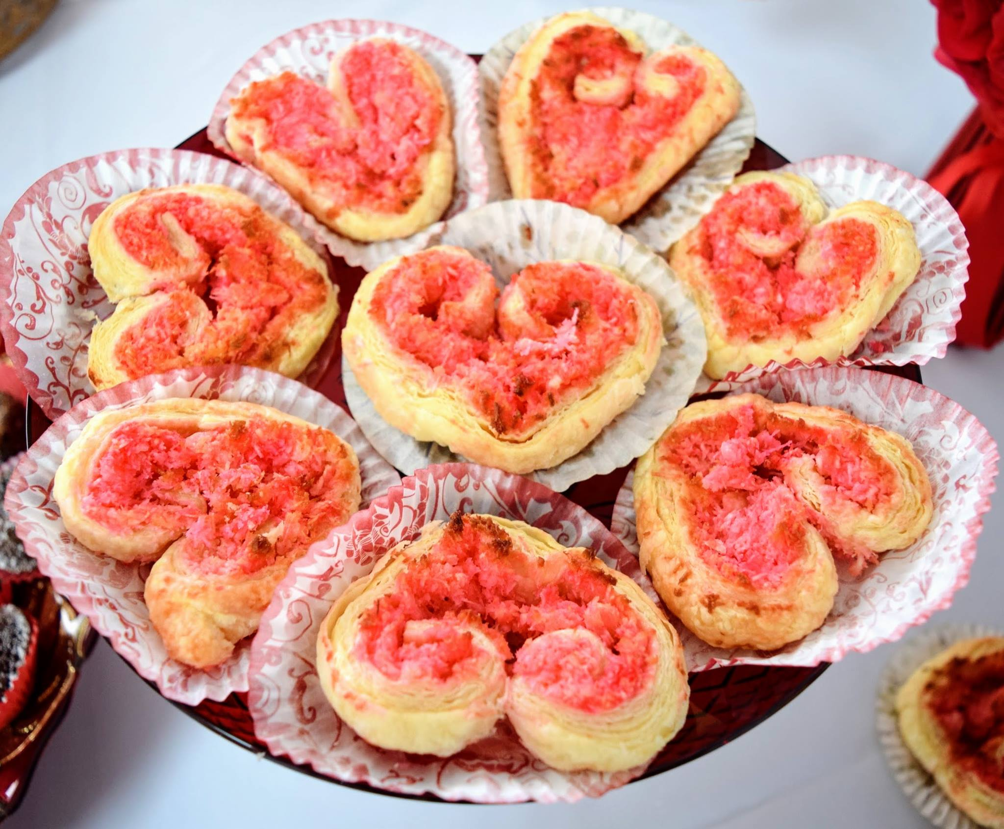 Red Coconut Puff Pastry Hearts
